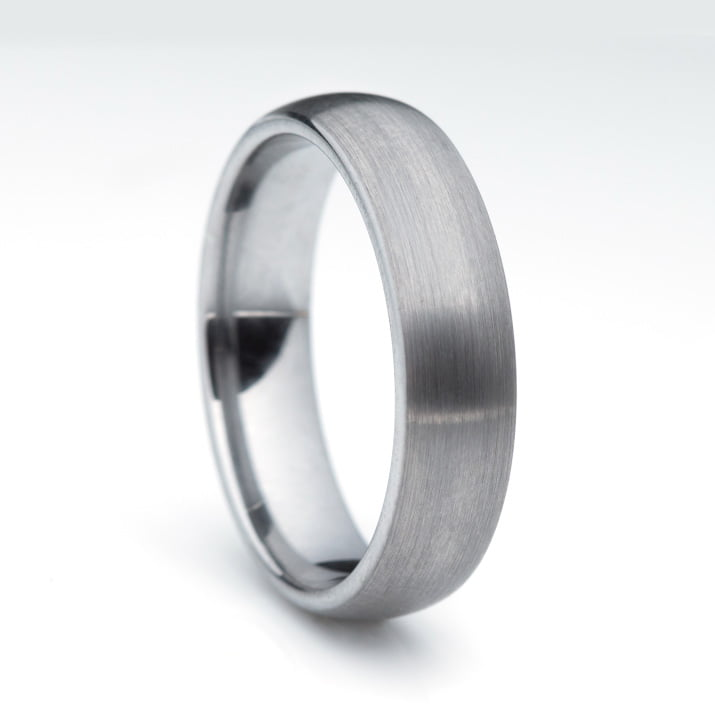 Tungsten Men's Wedding Ring on plain background.
