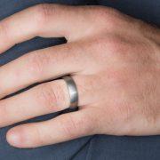 Tungsten Men's Wedding Ring on Hand